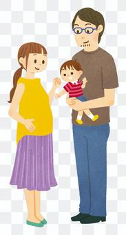 Pregnant woman and dad boy