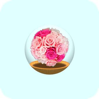玻璃容器(粉紅色的花朵)