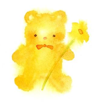 泰迪熊與花透明水彩手繪出血