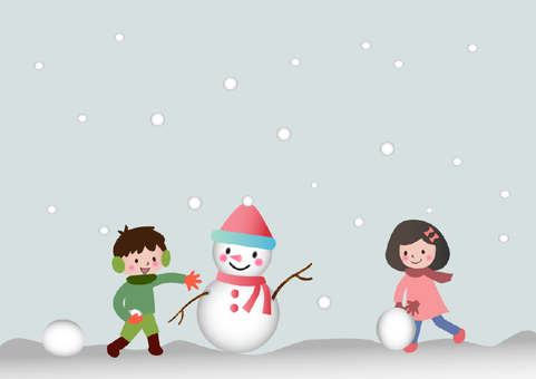 A child making a snowman
