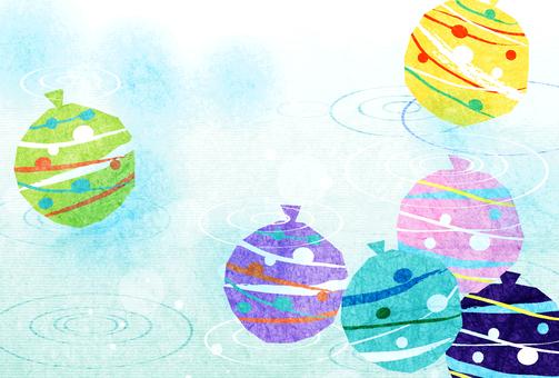水彩風格的溜溜球和夏日問候明信片中的漣漪水平
