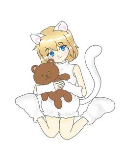 扮演一隻白貓的藍眼睛女孩