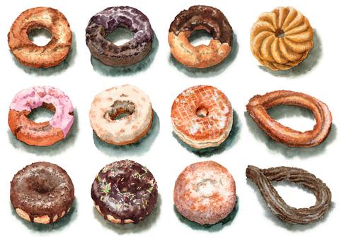 Analog watercolor various donuts