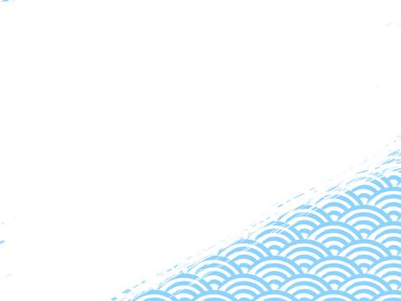 刷寫青海波浪填充背景:右下淺藍x白