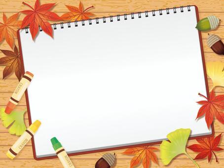 與蠟筆和落葉背景A的寫生簿