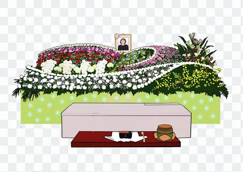 Flower altar and pink coffin