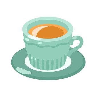 그린 머그잔에 담긴 커피