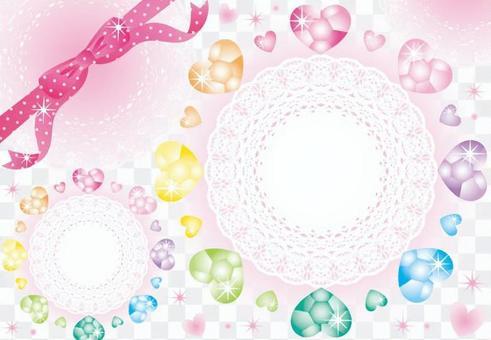 心首飾和花邊(粉紅絲帶)