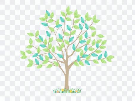 樹插圖/鮮綠色/水彩風格