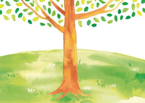 水彩大樹和小山圖
