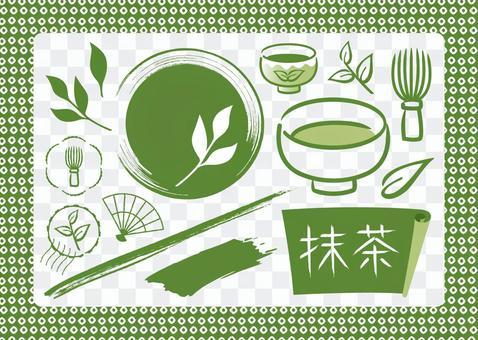 Matcha Japanese pattern hand-painted