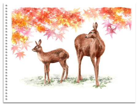 Analog watercolor autumn leaves and deer parent and child