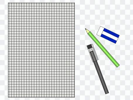 Cut writing instrument and grid paper