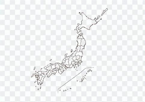 Japan map handwriting monochrome