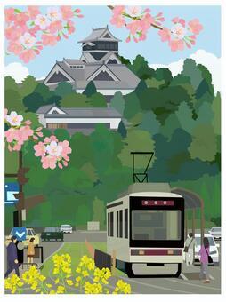 熊本城と電車と桜