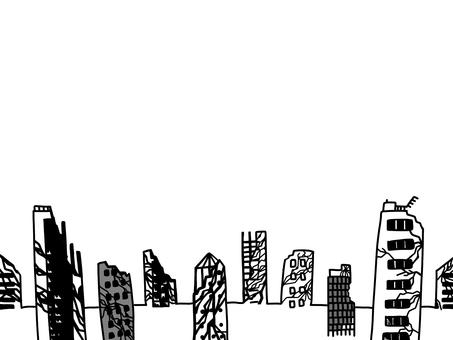 Collapsed city Broken buildings