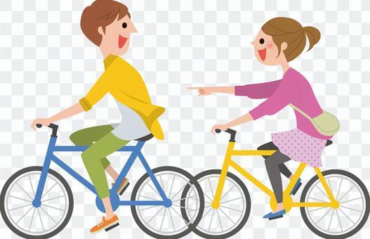 與2人騎自行車