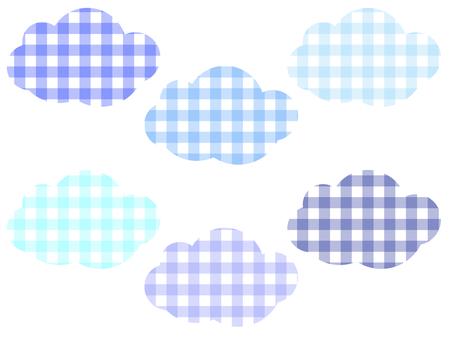 方格格紋雲彩套裝:藍色
