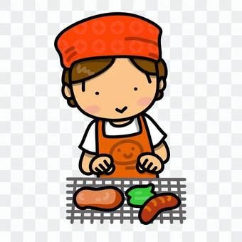 Girl making meat at BBQ