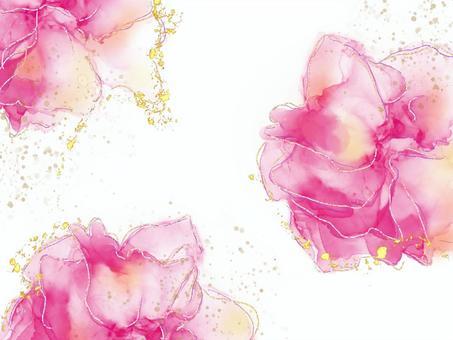 酒水墨藝術與紅色花朵風格閃光