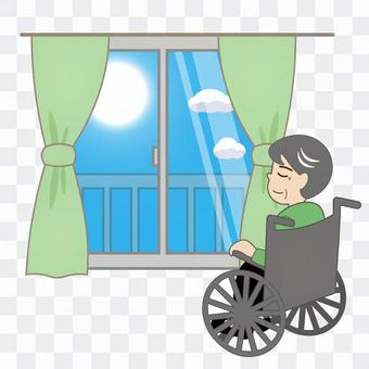 Nursing care (elderly / male in a wheelchair sunbathing)