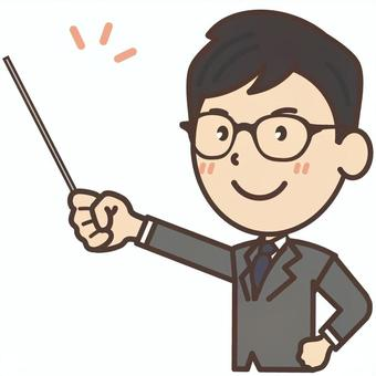 An office worker of Black Boku glasses who has an instruction stick and explains it