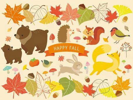 秋季動物和植物插圖(4)