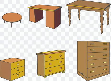 桌子和工作人員衣櫃桌子圖標各種材料的集合