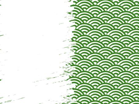 毛筆書寫青海波浪填充背景:右:綠×白