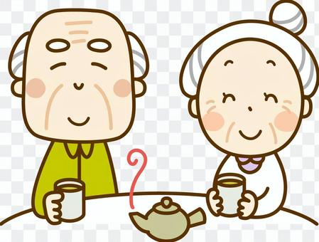 Elderly couple enjoying tea