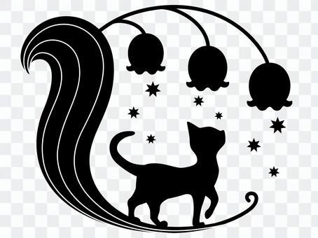 香草和貓剪影