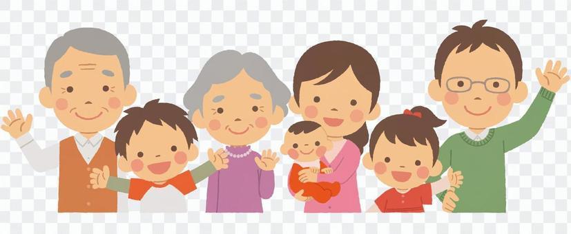 3世代7人家族 半身 秋服