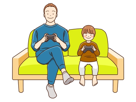 Parents and children playing games
