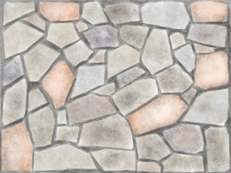Random stone pavement watercolor illustration material