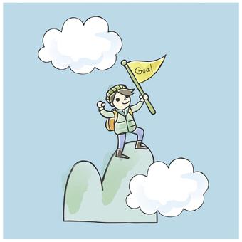 Illustrations, mountain climbing, mountain peaks, illustrations