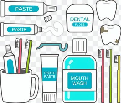 牙膏工具插圖集(帶邊框)
