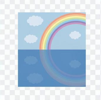 彩虹和雲反映在海