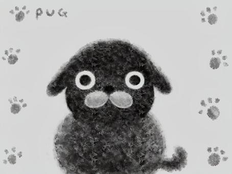 黒いパグ・壁紙