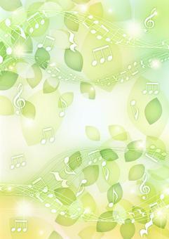 葉っぱと音符のキラキラ背景タテ