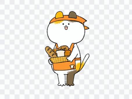 パン屋さんな三毛猫