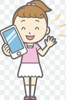 女孩的短袖 - 智能手機 - 全身