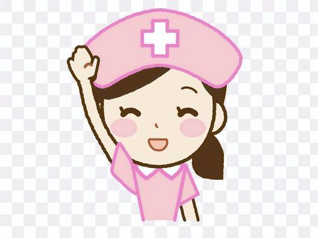 護士A-44舉起一隻手