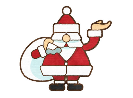 聖誕老人用水彩筆觸送禮物