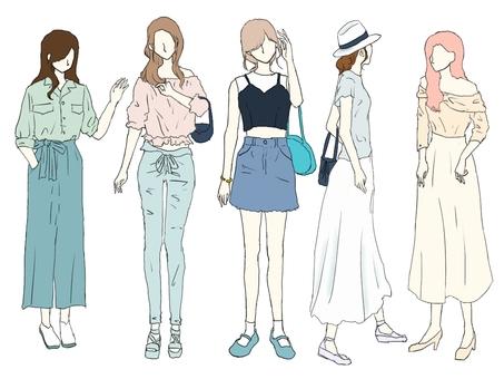 Spring / Summer fashion women's set 5 people