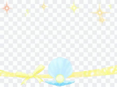 珍珠貝殼和絲帶框架2