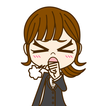 Woman coughing ① / suit
