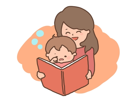 Story-telling of picture books Mother and child sleeping