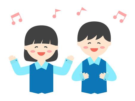 兒童(男孩/女孩)唱歌上身