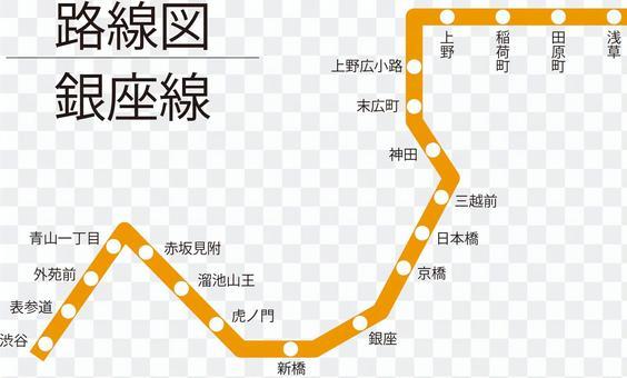 銀座線路線図-単純化