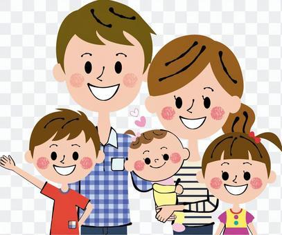 心暖朋友五人家庭上半身